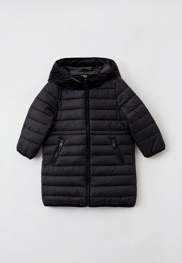 утепленные куртка sela для девочки, черная