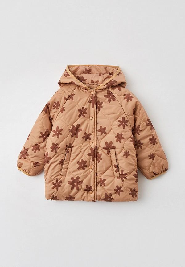 утепленные куртка sela для девочки, бежевая