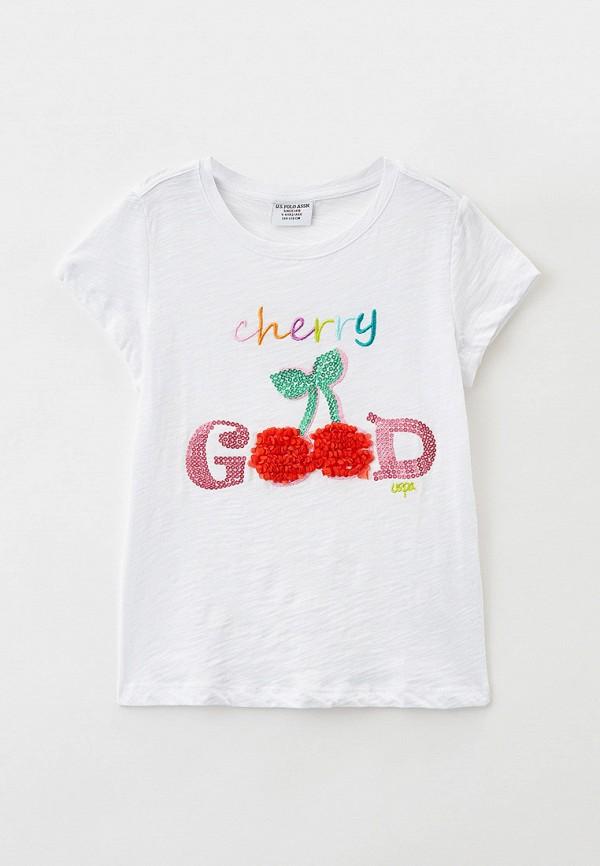 футболка с коротким рукавом u.s. polo assn для девочки, белая