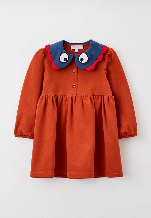 повседневные платье smena для девочки, коричневое