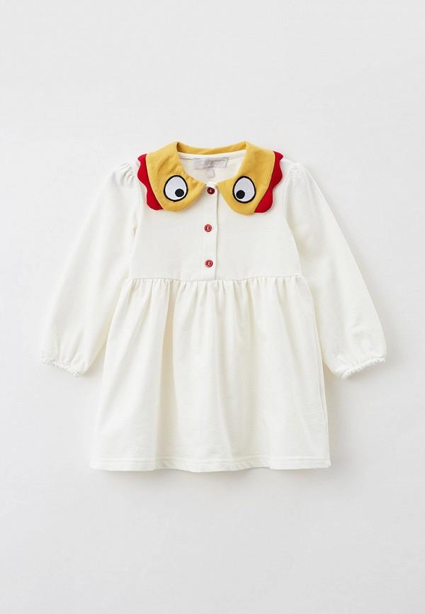 повседневные платье smena для девочки, белое