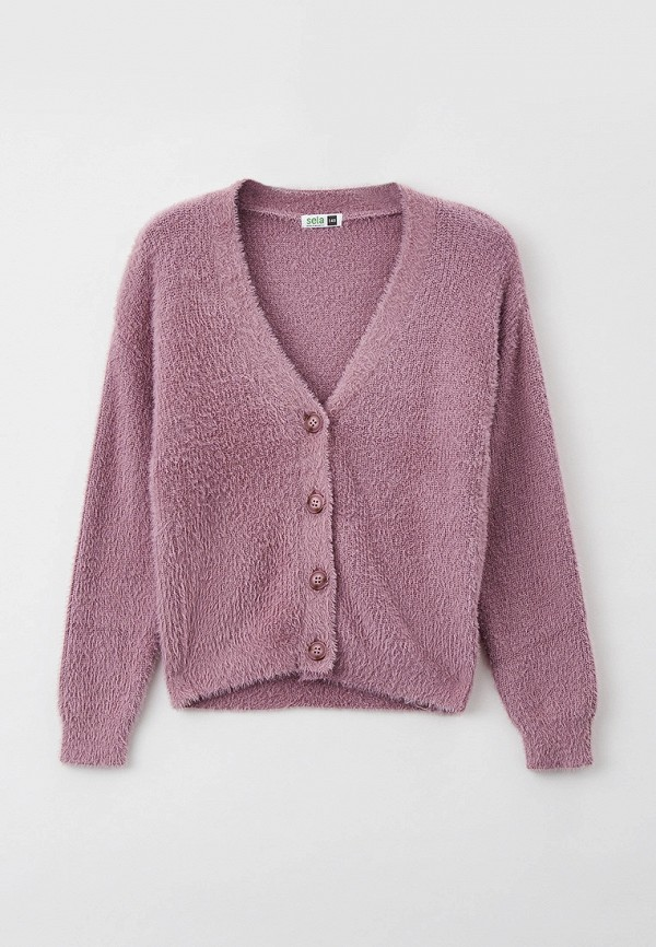 кардиган sela для девочки, фиолетовый
