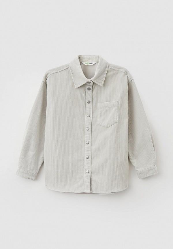 рубашка sela для девочки, серая
