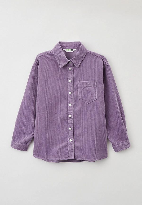 рубашка sela для девочки, фиолетовая