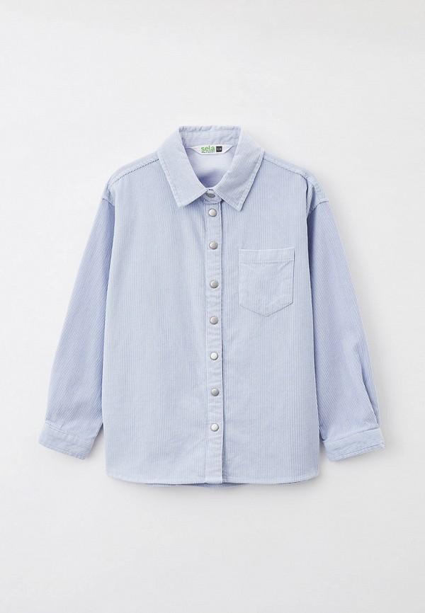 рубашка sela для девочки, голубая