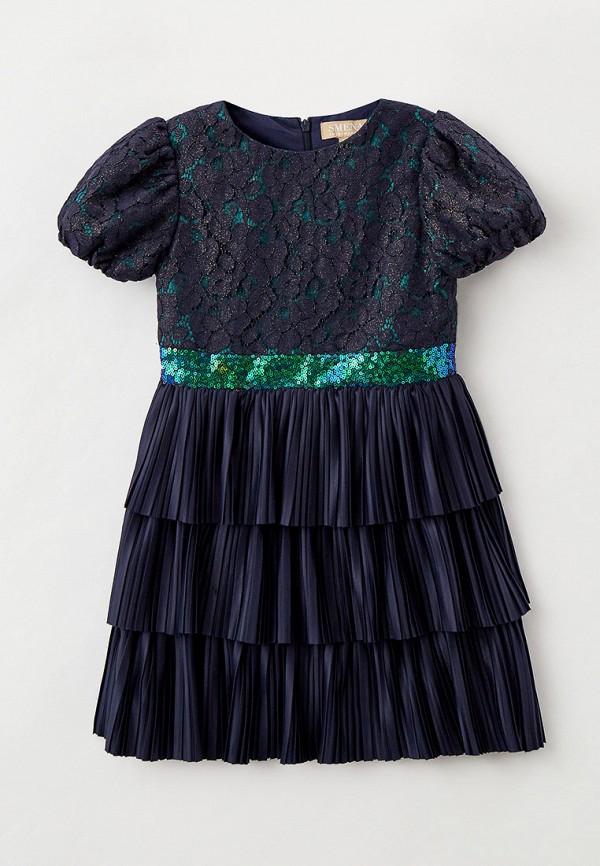 нарядные платье smena для девочки, синее