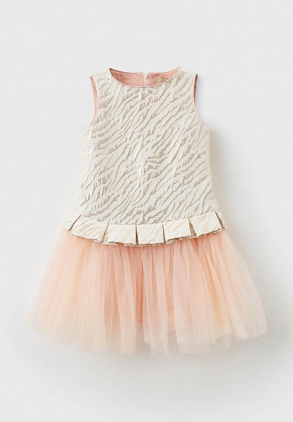 нарядные платье smena для девочки, бежевое