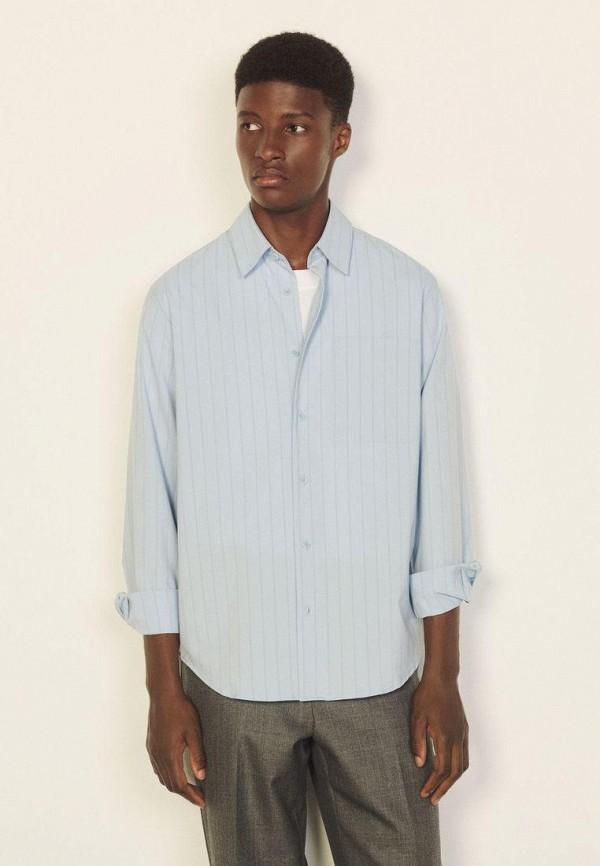 мужская рубашка с длинным рукавом sandro, голубая