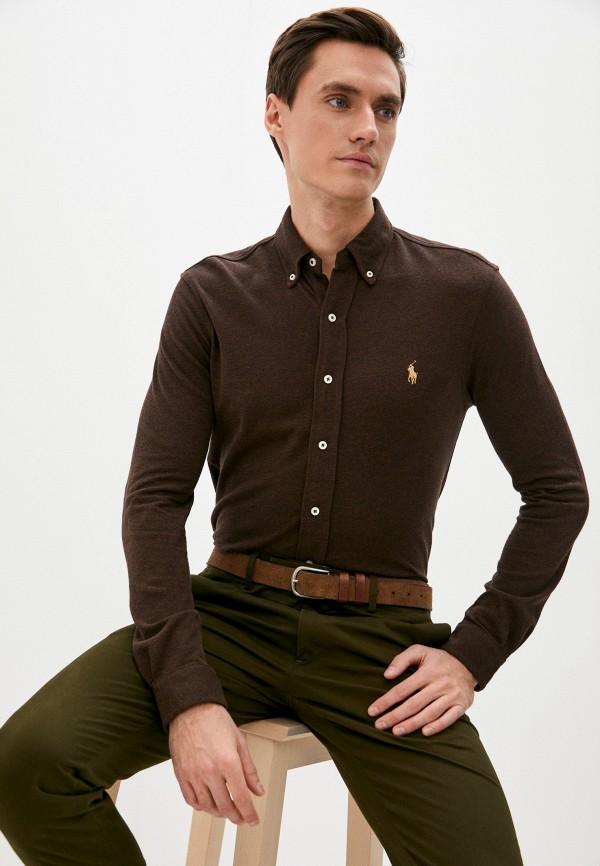 мужская рубашка с длинным рукавом polo ralph lauren, коричневая