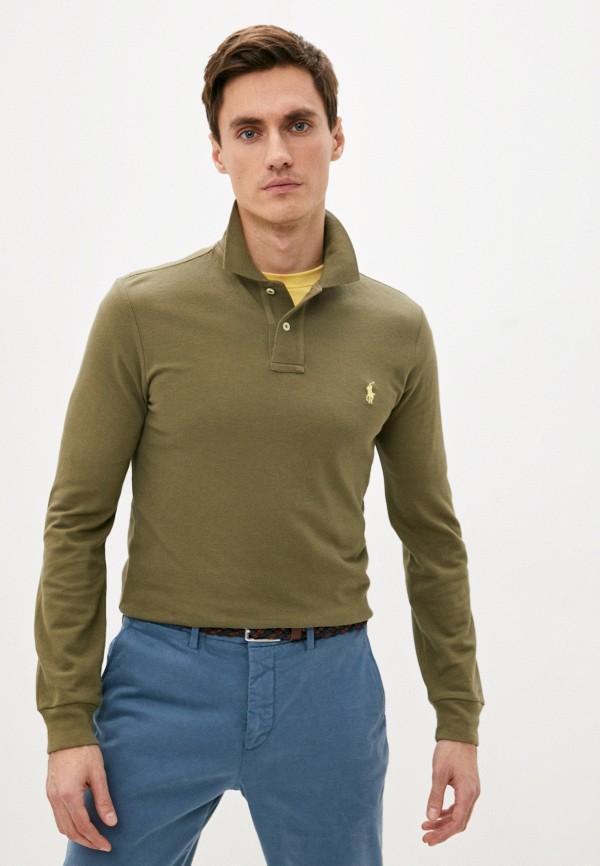 мужское поло с длинным рукавом polo ralph lauren, хаки