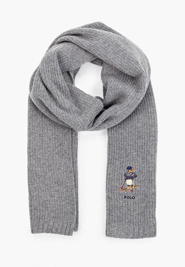 мужской шарф polo ralph lauren, серый
