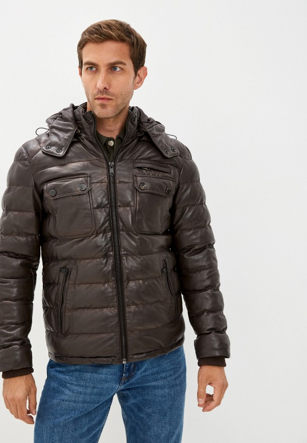 мужская кожаные куртка jorg weber, коричневая