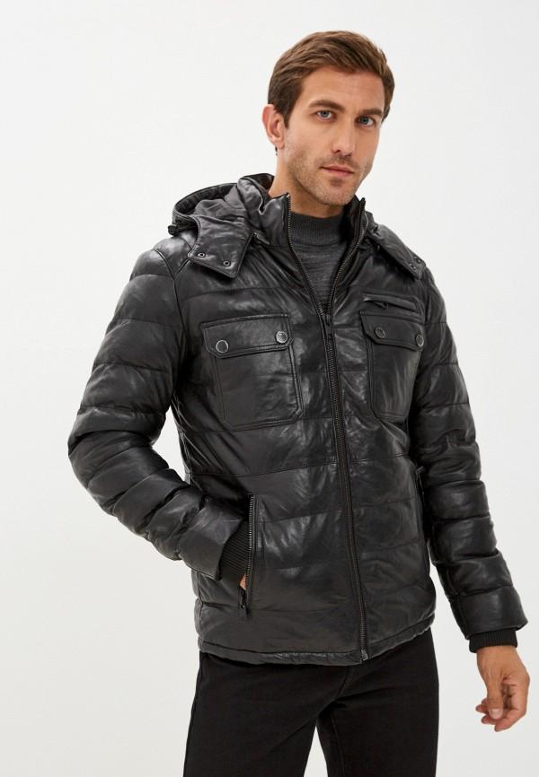 мужская кожаные куртка jorg weber, черная