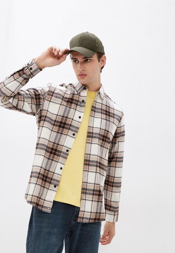 мужская рубашка с длинным рукавом colin's, бежевая