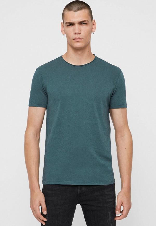 мужская футболка с коротким рукавом allsaints, бирюзовая