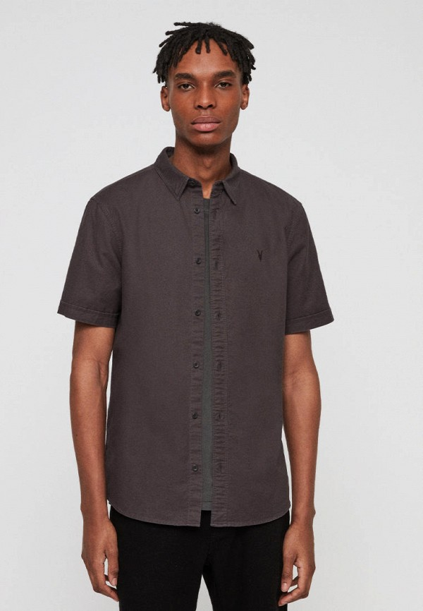 мужская рубашка с коротким рукавом allsaints, коричневая