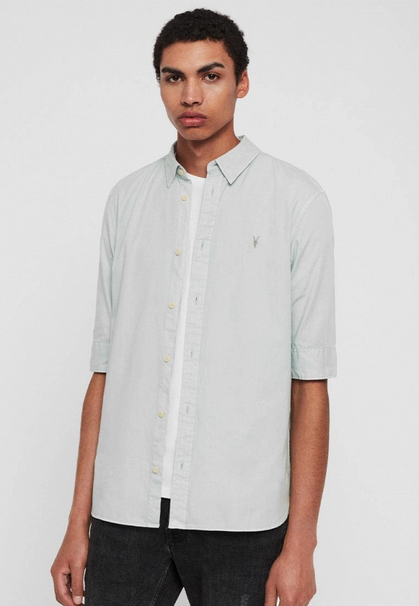 мужская рубашка с коротким рукавом allsaints, голубая