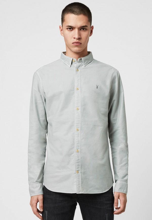 мужская рубашка с длинным рукавом allsaints, голубая