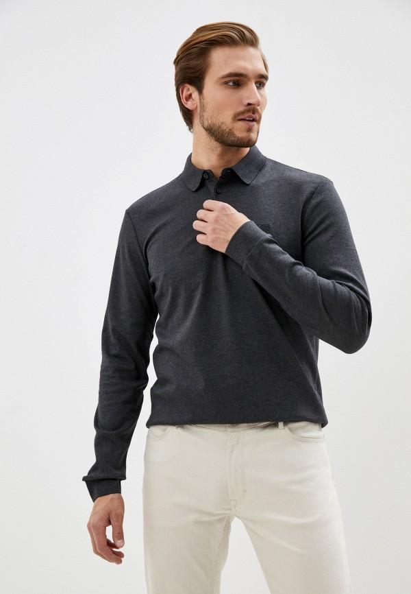 мужское поло с коротким рукавом boss, серое