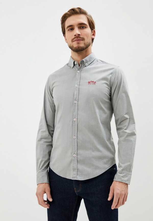 мужская рубашка с длинным рукавом boss, серая