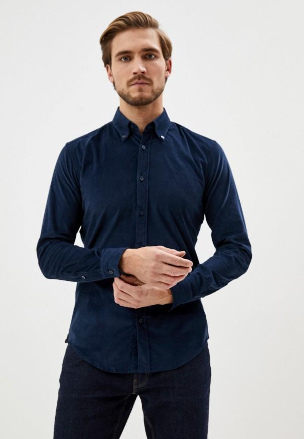 мужская рубашка с длинным рукавом boss, синяя