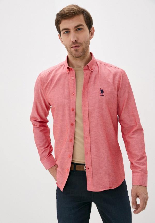мужская рубашка с длинным рукавом u.s. polo assn, розовая