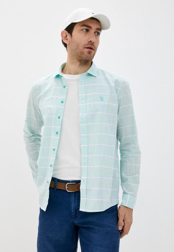 мужская рубашка с длинным рукавом u.s. polo assn, бирюзовая