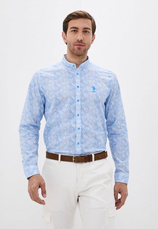 мужская рубашка с длинным рукавом u.s. polo assn, голубая