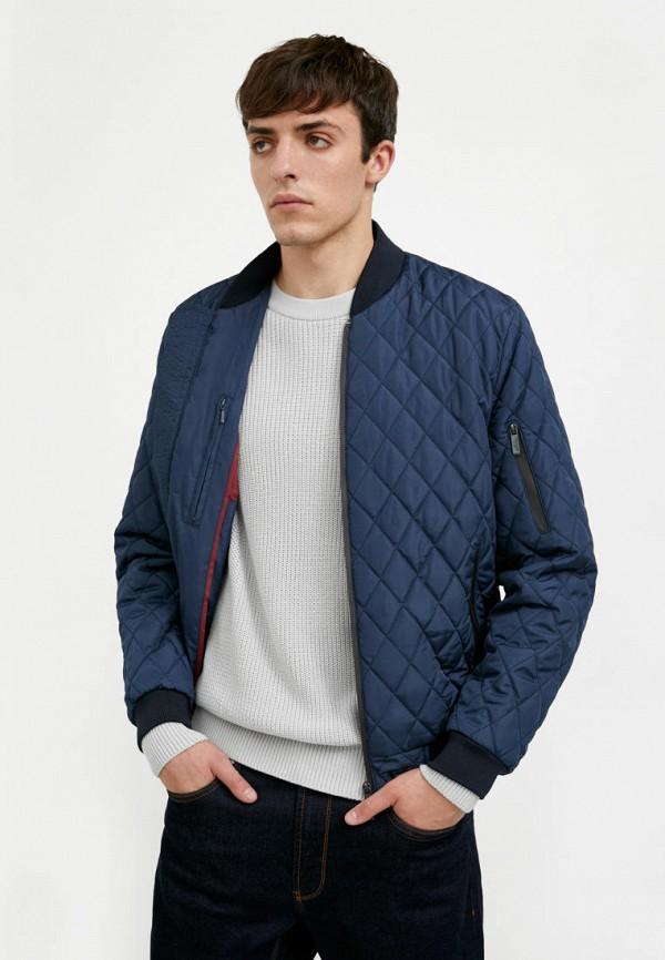 мужская куртка бомбер finn flare, синяя