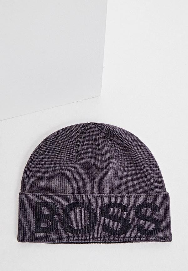 мужская шапка boss, серая
