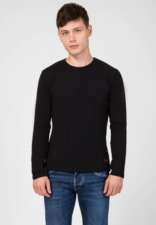 мужской лонгслив pepe jeans london, черный