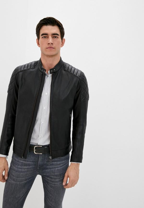 мужская кожаные куртка boss, черная