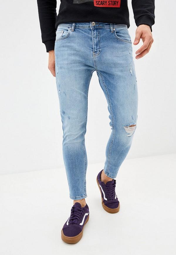 мужские зауженные джинсы defacto, голубые