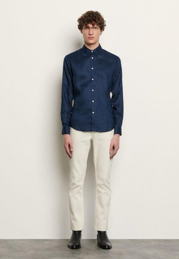 мужская рубашка с длинным рукавом sandro, синяя