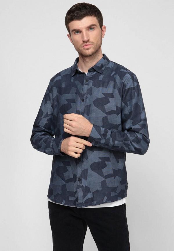 мужская рубашка с длинным рукавом esprit, синяя