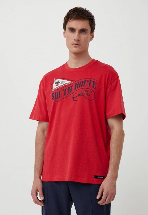 мужская футболка с коротким рукавом finn flare, красная