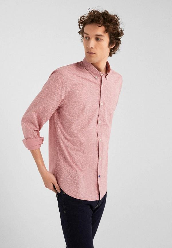 мужская рубашка с длинным рукавом springfield, розовая