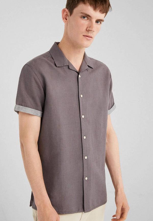 мужская рубашка с коротким рукавом springfield, коричневая