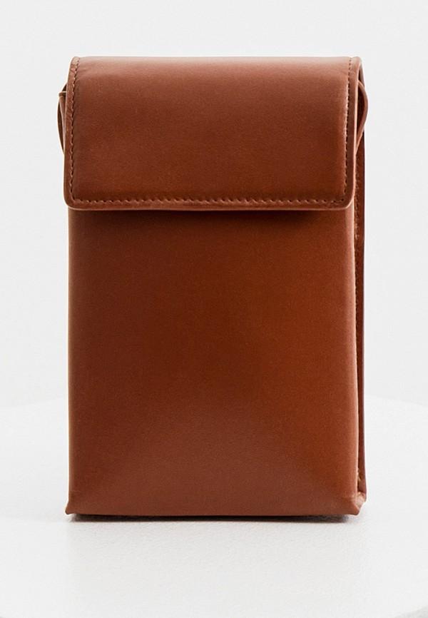 мужская сумка через плечо sandro, коричневая
