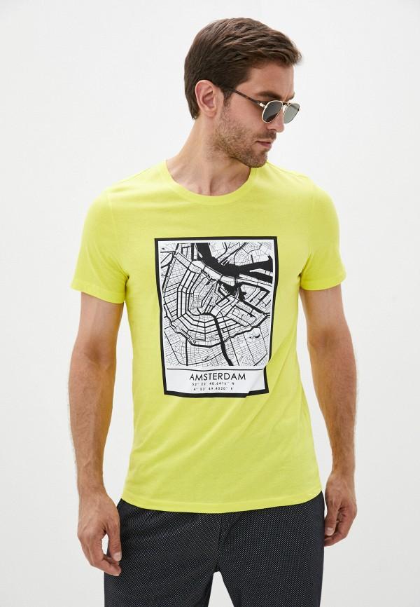 мужская футболка с коротким рукавом colin's, желтая