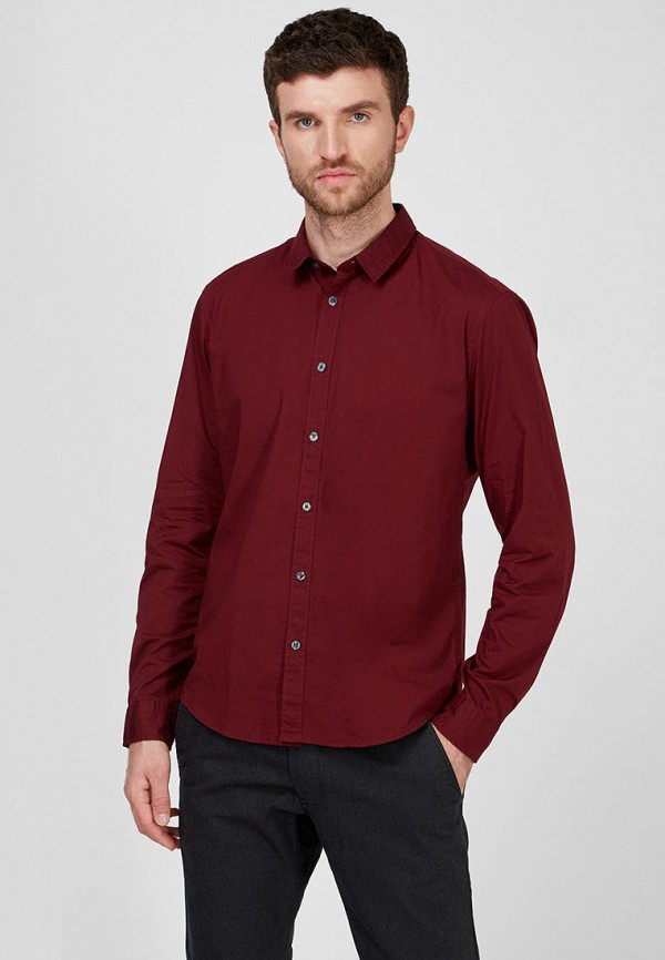 мужская рубашка с длинным рукавом esprit, бордовая