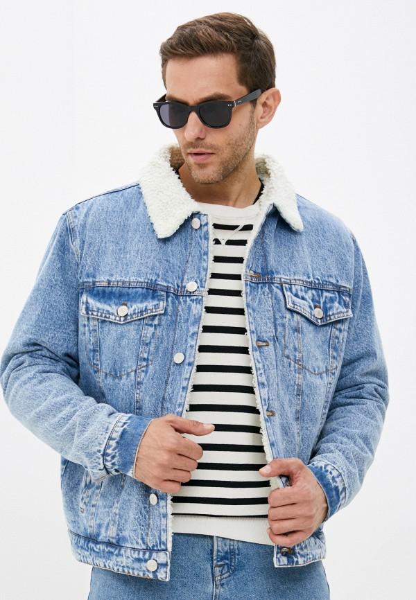 мужская джинсовые куртка befree, голубая