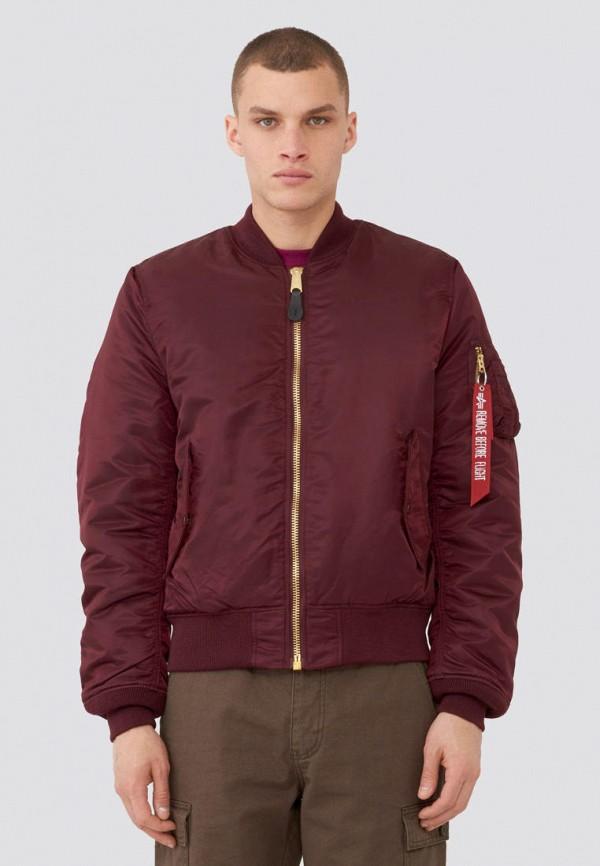 мужская куртка alpha industries, бордовая