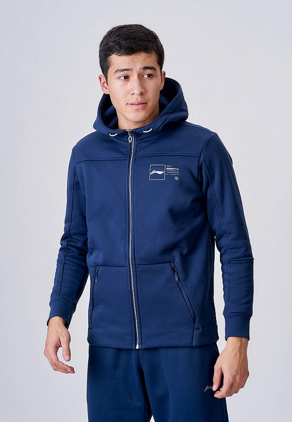 мужская толстовка li-ning, синяя