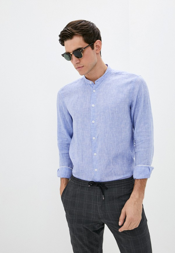мужская рубашка с длинным рукавом henderson, голубая