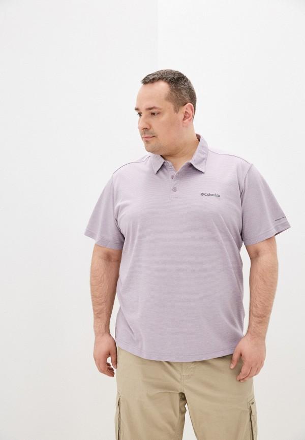 мужское поло с коротким рукавом columbia, фиолетовое