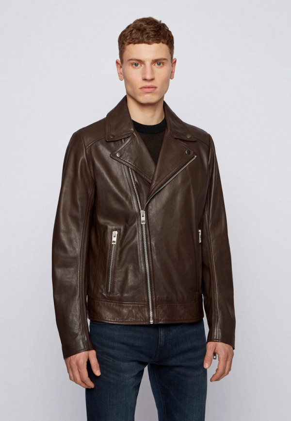 мужская куртка косухи boss, коричневая
