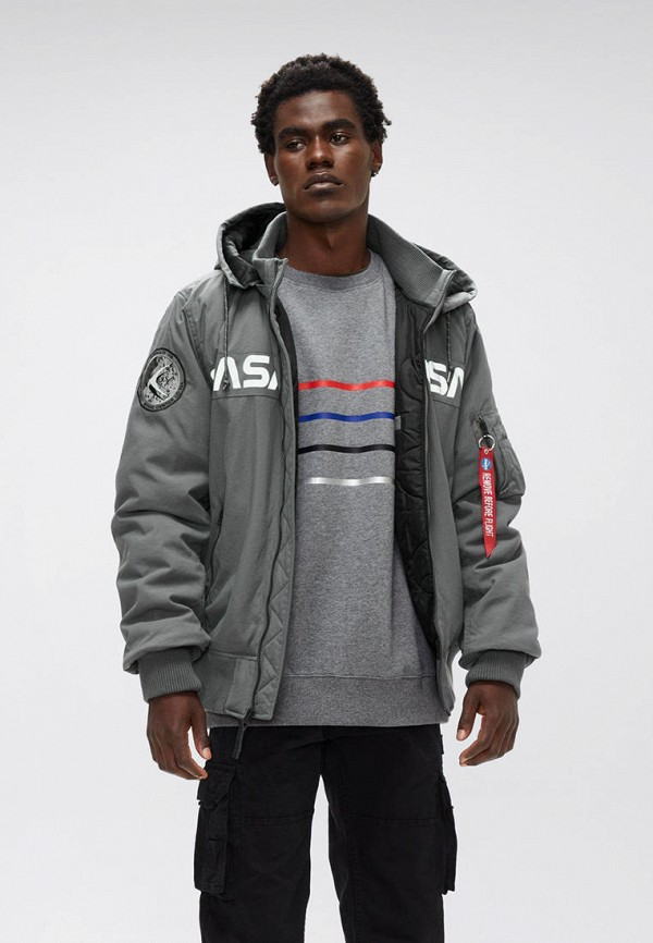 мужская куртка alpha industries, серая