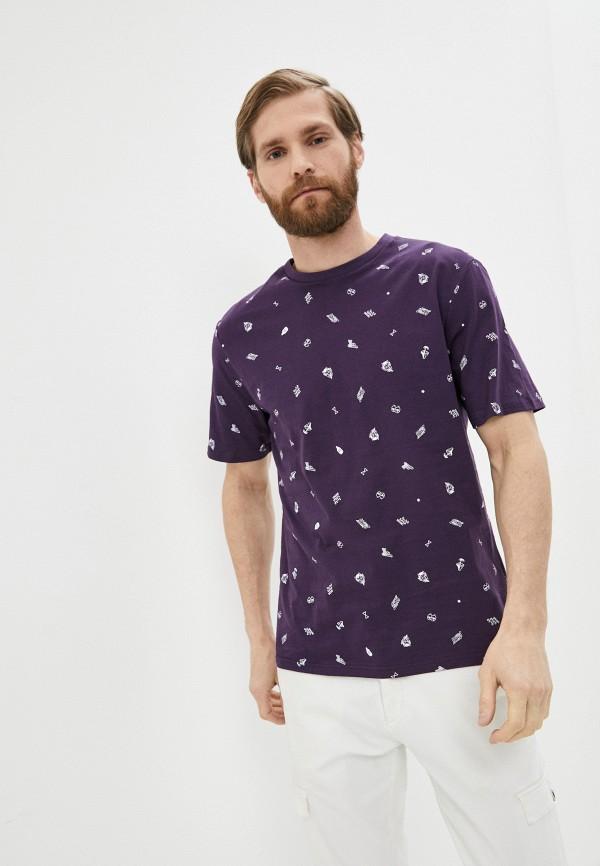 мужская футболка с коротким рукавом befree, фиолетовая