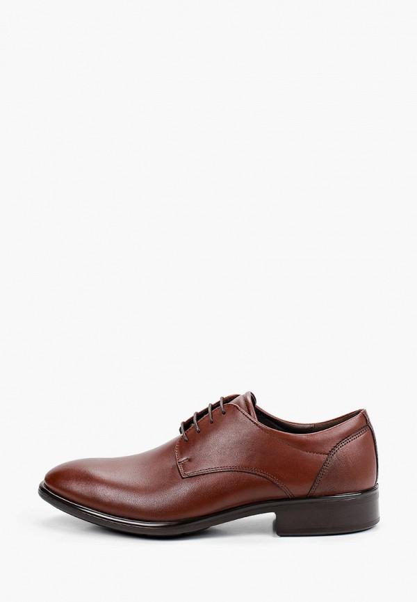 мужские туфли-дерби ecco, коричневые